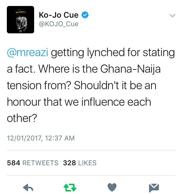 Mr Eazi's tweet which started a Ghana-Nigeria Twitter War