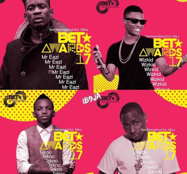 Stonebwoy, Mr. Eazi, Wizkid, Davido Nominated for BET Awards 2017