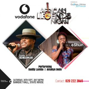 eShun To Perform with Kanda Bongoman, Amakye Dede & Daddy Lumba at Vodafone African Legends Night